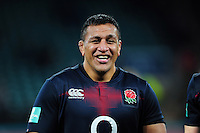 Mako Vunipola of England is all smiles after the match. Old Mutual Wealth Series International match between England and Argentina on November 26, 2016 at Twickenham Stadium in London, England. Photo by: Patrick Khachfe / Onside Images