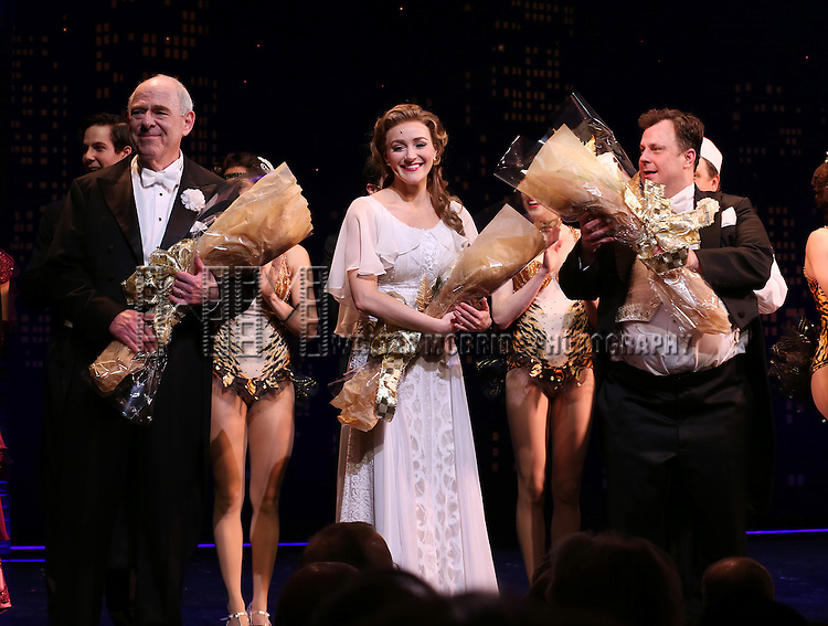 """Lenny Wolpe, Betsy Wolfe and Brooks Ashmanskas during the Broadway Opening Night Performance Curtain Call for ''Bullets Over Broadway'""""at the St. James Theatre on April 10, 2014 in New York City."""