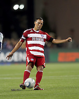 FC Dallas midfielder Daniel Hernandez (2) passes the ball. In a Major League Soccer (MLS) match, the New England Revolution defeated FC Dallas, 2-0, at Gillette Stadium on September 10, 2011.
