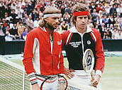 03.07.1980. Wimbledon, London England.  John McEnroe (USA) and Bjorn Borg (SWE) pose together on court at the Wimbledon 1980 singles final prior to Borg's win over McEnroe, All England Championships.