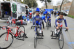 S.C. Michela Fanini team riders warm up before the start of the Ladies 2017 Strade Bianche running 127km from Siena to Siena, Tuscany, Italy 4th March 2017.<br /> Picture: Eoin Clarke | Newsfile<br /> <br /> <br /> All photos usage must carry mandatory copyright credit (&copy; Newsfile | Eoin Clarke)