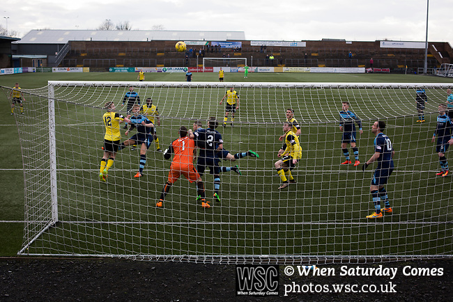 Forfar Athletic 1 Edinburgh City 2, 02/02/2017. Station Park, SPFL League 2. The visitors press for a second-half equaliser at Station Park, Forfar during the SPFL League 2 fixture between Forfar Athletic and Edinburgh City (yellow). It was the club's sixth and final meeting of City's inaugural season since promotion from the Lowland League the previous season. City came from behind to win this match 2-1, watched by a crowd of 446. Photo by Colin McPherson.