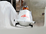 16 December 2010:  Anastasi Skulkina pilots a 2-man bobsled for Russia in a training run prior to the Viessmann FIBT World Cup Championships in Lake Placid, New York, USA. Mandatory Credit: Ed Wolfstein Photo