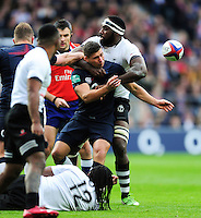 Ben Youngs of England passes the ball after being tackled. Old Mutual Wealth Series International match between England and Fiji on November 19, 2016 at Twickenham Stadium in London, England. Photo by: Patrick Khachfe / Onside Images