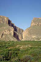 Santa Elena canyon where Rio Grande River passes through rock wall. On left is Mexicos' Sierra Ponce; On the right is Texas' Mesa de Anguila. Texas, Big Bend National Park.