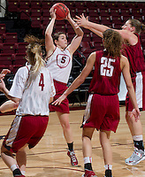 Stanford, CA., March 25, 2013,--  Taylor Greenfield, Sara James, Erica Payne and Tess Picknell both with the Stanford women's basketball team workout during team practice Monday, March 25, 2013, for there second round NCAA 2013, basketball championship game against Michigan, at Maples Pavilion.  ( Norbert von der Groeben )