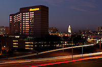View of a luxury Austin Hotel, overlooking the UT Tower in downtown Austin, Texas.