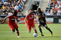 Dan Gargan (8) of Toronto FC and Danny Mwanga (10) of the Philadelphia Union battle for the ball. The Philadelphia Union defeated Toronto FC 2-1 on a second half stoppage time goal during a Major League Soccer (MLS) match at PPL Park in Chester, PA, on July 17, 2010.