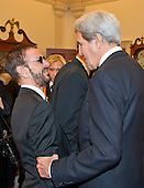 United States Secretary of State John Kerry speaks with Ringo Starr, left, following a dinner hosted by United States Secretary of State John F. Kerry in their honor at the U.S. Department of State in Washington, D.C. on Saturday, December 3, 2016.  The 2016 honorees are: Argentine pianist Martha Argerich; rock band the Eagles; screen and stage actor Al Pacino; gospel and blues singer Mavis Staples; and musician James Taylor.<br /> Credit: Ron Sachs / Pool via CNP