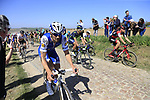 The peloton including Tom Boonen (BEL) Quick-Step Floors on pave sector 25 Briastre a Solesmes during the 115th edition of the Paris-Roubaix 2017 race running 257km Compiegne to Roubaix, France. 9th April 2017.<br /> Picture: Eoin Clarke | Cyclefile<br /> <br /> <br /> All photos usage must carry mandatory copyright credit (&copy; Cyclefile | Eoin Clarke)