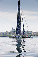 Extreme Sailing Series 2011. Act 3.Turkey . Istanbul..Groupe Edmond De Rothschild skippered by Pierre Pennec with teammates Christophe Espagnon,Thierry Fouchier and Herve Cunningham...