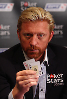 Boris Becker launches the Pokerstars.com European Poker Tour with a photocall with celeb lookalikes of Cristiano Ronaldo, Valentino Rossi, Michael Schumacher, Fabio Capello and David Beckham. Victoria Grosvenor Casino, Edgware Road..