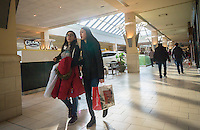 Last minute shoppers crowd the Queens Center Mall in the borough of Queens in New York on Christmas Eve, Saturday, December 24, 2016. A study reports that the holiday shopping season, November and December, now accounts for less than 21 percent of physical stores' sales, down from its peak of 25 percent. (© Richard B. Levine)