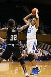 07 January 2016: Duke's Azura Stevens (11) and Wake Forest's Milan Quinn (32). The Duke University Blue Devils hosted the Wake Forest University Demon Deacons at Cameron Indoor Stadium in Durham, North Carolina in a 2015-16 NCAA Division I Women's Basketball game. Duke won the game 95-68.