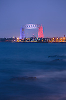Duluth's Aerial Lift Bridge was decked in red, white, and blue for Independence Day celebrations. Lake Superior waves were rolling in to complement the festivities.