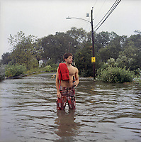 Aftermath of Hurricane Irene in Connecticut. A flooded road.