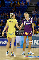 Katrina Grant ( Pulse ) and Laura Geitz ( Firebirds ), the ANZ Championship - Mojo Pulse v Queensland Firebirds at Te Rauparaha Arena, Porirua, New Zealand on Sunday 8 March 2015. <br /> Photo by Masanori Udagawa. <br /> www.photowellington.photoshelter.com.