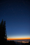 The Big Dipper high in the night sky above Port Angeles WA, seen from Blue Mountain in Olympic National Park.
