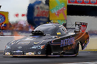Sept. 1, 2014; Clermont, IN, USA; NHRA funny car driver Alexis DeJoria during the US Nationals at Lucas Oil Raceway. Mandatory Credit: Mark J. Rebilas-USA TODAY Sports