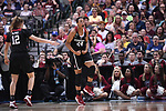 DALLAS, TX - MARCH 31: Erica McCall #24 of the Stanford Cardinal reacts to a basket during the 2017 Women's Final Four at American Airlines Center on March 31, 2017 in Dallas, Texas. (Photo by Justin Tafoya/NCAA Photos via Getty Images)