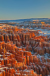 Hoodoos and snow filled the Bryce Amphitheater during winter at Bryce Canyon National Park, Utah, USA
