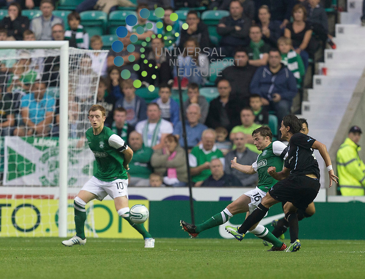 Europa League qualifier 25 July 2013<br /> <br /> Miiko Albornoz (Malmo FF) scores goal number four for Malmo during the Europa League qualifier, Hibernian v Malmo FF at Easter Road on Thursday 25 July 20113<br /> <br /> Picture: Alan Rennie/Universal News &amp; Sport