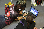 Ann Osman, Malaysia WMMA star watches training videos with one of her coaches<br />