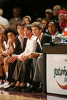 30 December 2006: Stanford Cardinal assistant coach Karen Middleton, head coach Tara VanDerveer, associate head coach Amy Tucker, and assistant coach Charmin Smith during Stanford's 77-71 win against the Arizona State Sun Devils at Maples Pavilion in Stanford, CA.