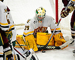 18 October 2009: University of Vermont Catamount goaltender Rob Madore, a Sophomore from Venetia, PA, in action during the second period against the Boston College Eagles at Gutterson Fieldhouse in Burlington, Vermont. Madore stopped 22 shots as the Catamounts defeated the Eagles 4-1 to open Vermont's America East hockey season. Mandatory Credit: Ed Wolfstein Photo