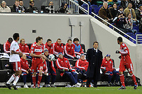 Chicago Fire head coach Carlos de los Cobos watches the action during the first half of a Major League Soccer match between the New York Red Bulls and the Chicago Fire at Red Bull Arena in Harrison, NJ, on March 27, 2010. The Red Bulls defeated the Fire 1-0.