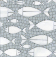 Floating Fish, a waterjet and hand cut glass mosaic shown in Opal and Moonstone, is part of the Erin Adams Collection for New Ravenna Mosaics.