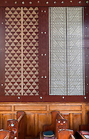 Cultural Syncretism.  Maori woven wall panels (tukutuku) in St. Mary's Anglican Church, Tikitiki, north island, New Zealand, built 1924-26 as a memorial to Maori soldiers who fought and died in World War I.   A member of the New Zealand Historic Places Trust.  Highway 35, Gisborne Region.