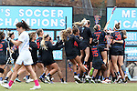 20 February 2016: Florida players celebrate at the end of the game. The University of North Carolina Tar Heels hosted the University of Florida Gators in a 2016 NCAA Division I Women's Lacrosse match. Florida won the game 16-15.