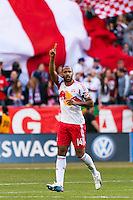Thierry Henry (14) of the New York Red Bulls celebrates scoring. The New York Red Bulls defeated the Philadelphia Union 2-1 during a Major League Soccer (MLS) match at Red Bull Arena in Harrison, NJ, on March 30, 2013.