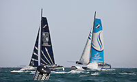 Extreme Sailing Series 2011. Leg 1. Muscat. Oman.Day 2 of racing. Groupe Edmond De Rothschild and The Wave Muscat