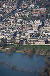 The  Thames, Oxford in  flood . <br /> View of Oxford, looking  North West <br /> Christchurch meadow and the flooded Thames to the bottom of the image.
