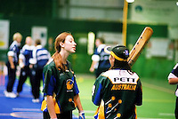 Australia Under 19 Girls Nicole Martin in discussion with Becki Pett, vs South Africa.<br /> 2003 Indoor Cricket World Under 19 Championships, Christchurch, New Zealand