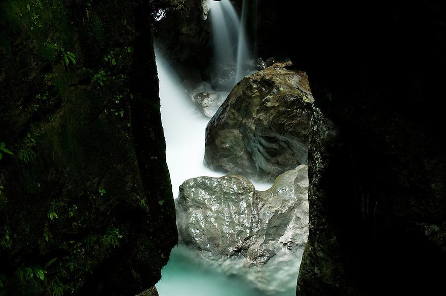 Zadlascica canyon, river Zadlascica, cascades<br /> Triglav National Park, Slovenia<br /> June 2009