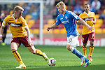 Motherwell v St Johnstone...30.08.14  SPFL<br /> David Wotherspoon takes on Craig Reid<br /> Picture by Graeme Hart.<br /> Copyright Perthshire Picture Agency<br /> Tel: 01738 623350  Mobile: 07990 594431