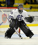 29 December 2007: Holy Cross Crusaders' goaltender Adam Roy, a Freshman from Feeding Hills, MA, warms up prior to a game against the University of Vermont Catamounts at Gutterson Fieldhouse in Burlington, Vermont. The Catamounts rallied in the final seconds of play to tie the game 1-1. After overtime, although the official result remained a tie game, the Cats moved up to the championship round by winning a sudden death shootout in the second game of the Sheraton/TD Banknorth Catamount Cup Tournament...Mandatory Photo Credit: Ed Wolfstein Photo