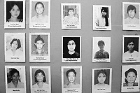 Some of Burma's female political prisoners - a small number of the estimated 1200-1400 prisoners incarcerated in Burma's notoriously harsh jails because of their political beliefs. Part of a display in the offices of the Assistance Association for Political Prisoners (Burma) [AAPP] - an organisation of former Burmese political prisoners that seeks to expose the fate of those still held for disagreeing with the policies of Burma's military dictatorship.