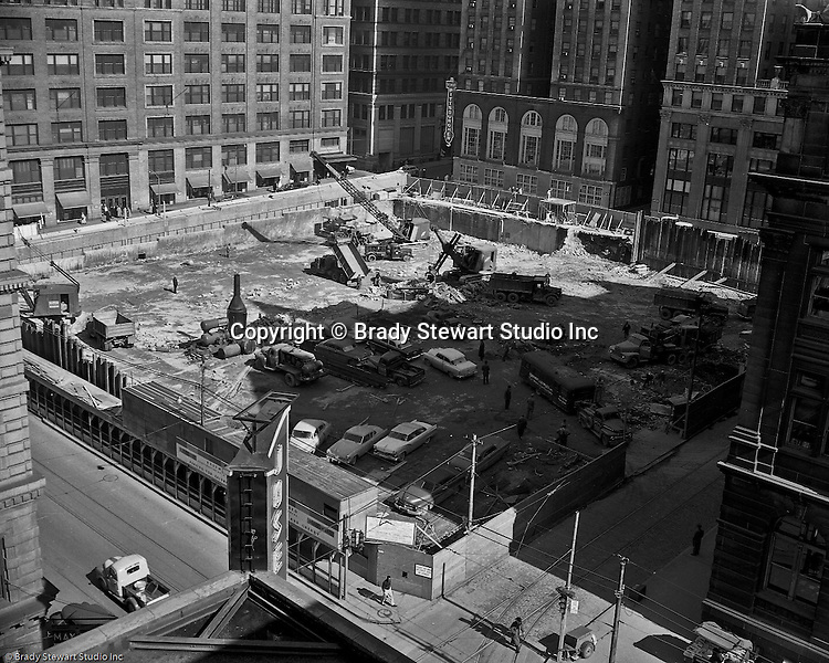 Pittsburgh PA - View of construction on the new Kaufmann's department store garage - 1958.  The Pittsburgher Hotel is in the background.
