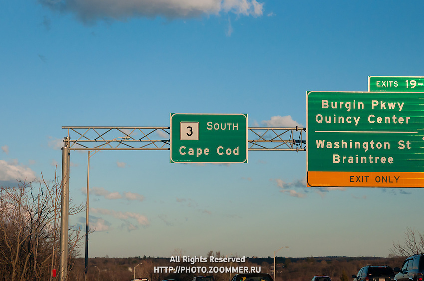 Cape Cod Road Sign On Route 3 From Boston To Cape Cod