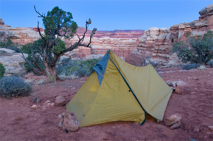 A fantastic backcountry camp, one of many in the Maze District of Canyonlands N.P, Utah.