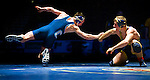 Jake Elliott, left, of Oakmont High School wrestles Keaton Subjeck of Oak Ridge High School in the finals of the 145lb weight class during the CIF SJS Master Wrestling tournament at the Stockton Arena, Saturday Feb. 26, 2011. Elliott won 7-3..Special to the Sacramento Bee/ Brian Baer