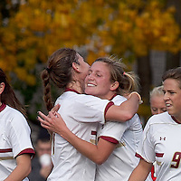 Boston College forward/midfielder Gibby Wagner (10) celebrates her goal with teammates. Boston College defeated Marist College, 6-1, in NCAA tournament play at Newton Campus Field, November 13, 2011.