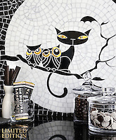 Puss 'n Hoots, a one of a kind hand-cut and waterjet jewel glass mosaic, designed by Cean Irminger for New Ravenna.