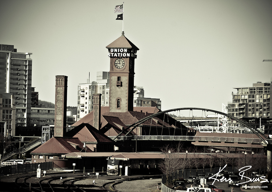A photography of Portland Train Station on a sunny day, with the Pearl District in the background.