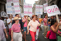 NYC Council Speaker and mayoral candidate Christine Quinn, center, campaigns in the 44th annual Lesbian, Gay, Bisexual and Transgender Pride Parade on Fifth Avenue in New York on Sunday, June 30, 2013. The turn out for the parade was especially large with the recent Supreme Court decision overturning the Defense of Marriage Act (DOMA) and California's Proposition 8.  (© Richard B. Levine)