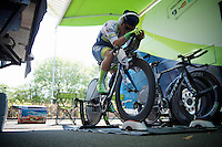 Caleb Ewan (AUS/Orica-GreenEDGE) warming up to his favourite tunes on the rollers ahead of the prologue<br /> <br /> stage 1: Apeldoorn prologue 9.8km<br /> 99th Giro d'Italia 2016